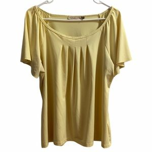 Notations Soft Yellow Swoop Neck Short Sleeve
